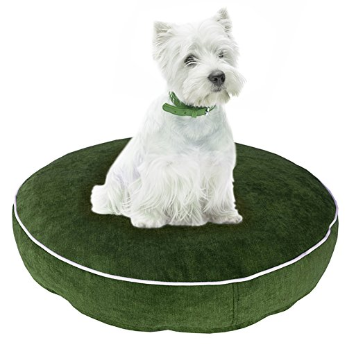 Chien Chien Velours Hundebett Rund, Tierkissen Toni für Hund und Katze, Smaragd Grüner Hundeplatz, Hundecouch Durchmesser 50 cm