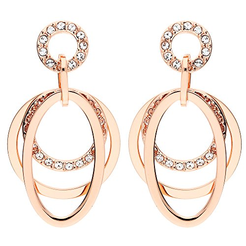 MYA art Damen Ohrringe Ohrhänger Ohrstecker Ringe Anhänger mit Swarovski Elements Rosegold Vergoldet Rose Weiß MYARGOHR-50