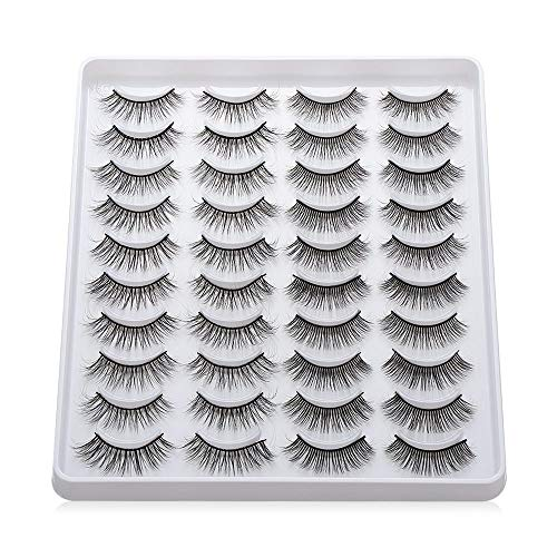 20 Pairs/set Mixed Styles 3D Faux Mink False Eyelashes Wispies Fluffy Natural Long Lashes Extension Beauty Makeup Tools Handmade Cruelty-free(203)