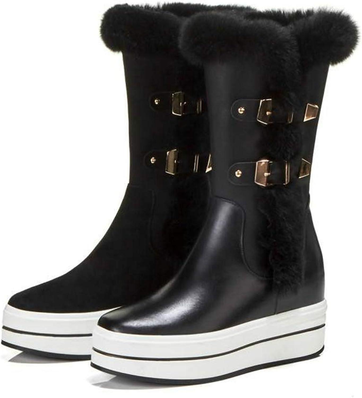 T-JULY Women Ankle Boots Round Toe Platform Flat shoes Waterproof Heel Winter Two Belt Buckle Snow Boots for Girls