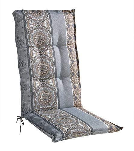 Sesselauflage Sitzpolster Gartenstuhlauflage für Hochlehner | 50 cm x 120 cm | Braun | Mandalamotiv | Baumwolle | Polyester