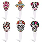 60 Pieces Day of The Dead Sugar Skull Cupcake Toppers Dessert Cake Picks Dia De Los Muertos Picado Skeleton Cupcake Toppers Colorful Skull Cake Decorations for Day of The Dead Halloween Party