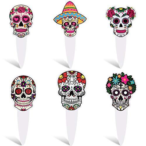 60 Toppers de Magdalena de Cráneo de Azúcar de Día de Los Muertos Palillos de Pastel Postre Toppers de Cupcake de Esqueleto Decoración de Pastel de Cráneo Colorido para Halloween Día de Los Muertos
