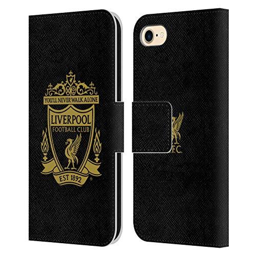Head Case Designs Offizielle Liverpool Football Club Schwarz 3 Crest 1 Leder Brieftaschen Handyhülle Hülle Huelle kompatibel mit Apple iPhone 7 / iPhone 8 / iPhone SE 2020