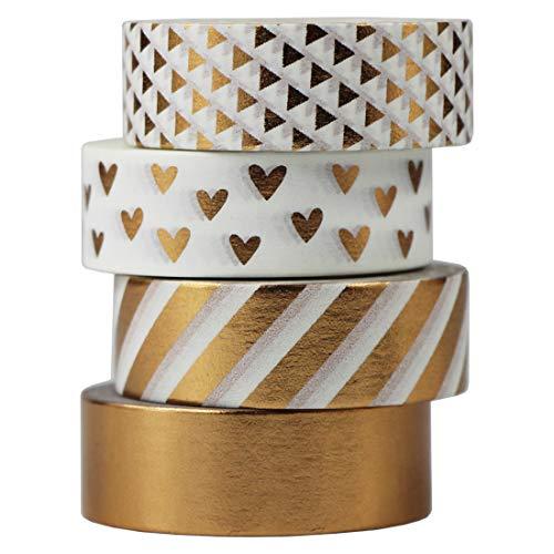 Gouert 4 Rollen Washi Tape Design Kupfer Dekoband Masking Tape Dekorative Klebeband buntes Klebebänder für DIY Craft Scrapbooking Geschenkpapier