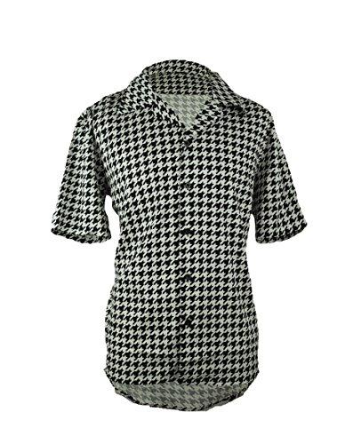 Men's Houndstooth Button Down Short Sleeve Shirt (XXL)