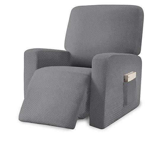 Granbest Dicker Sesselschoner für Relaxsessel 1 Stück Recliner Sesselbezug mit Taschen Jacquard Stretchhusse für Relaxsessel Möbelschutz mit Gummiband(Hellgrau, Ruhesessel)