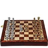 Love lamp Ajedrez Plegable Gama Alta de la Caja del Metal de Bronce de ajedrez for Niños Adultos Conjunto Regalos Juego de ajedrez Juego de ajedrez Adornos (Color : A)