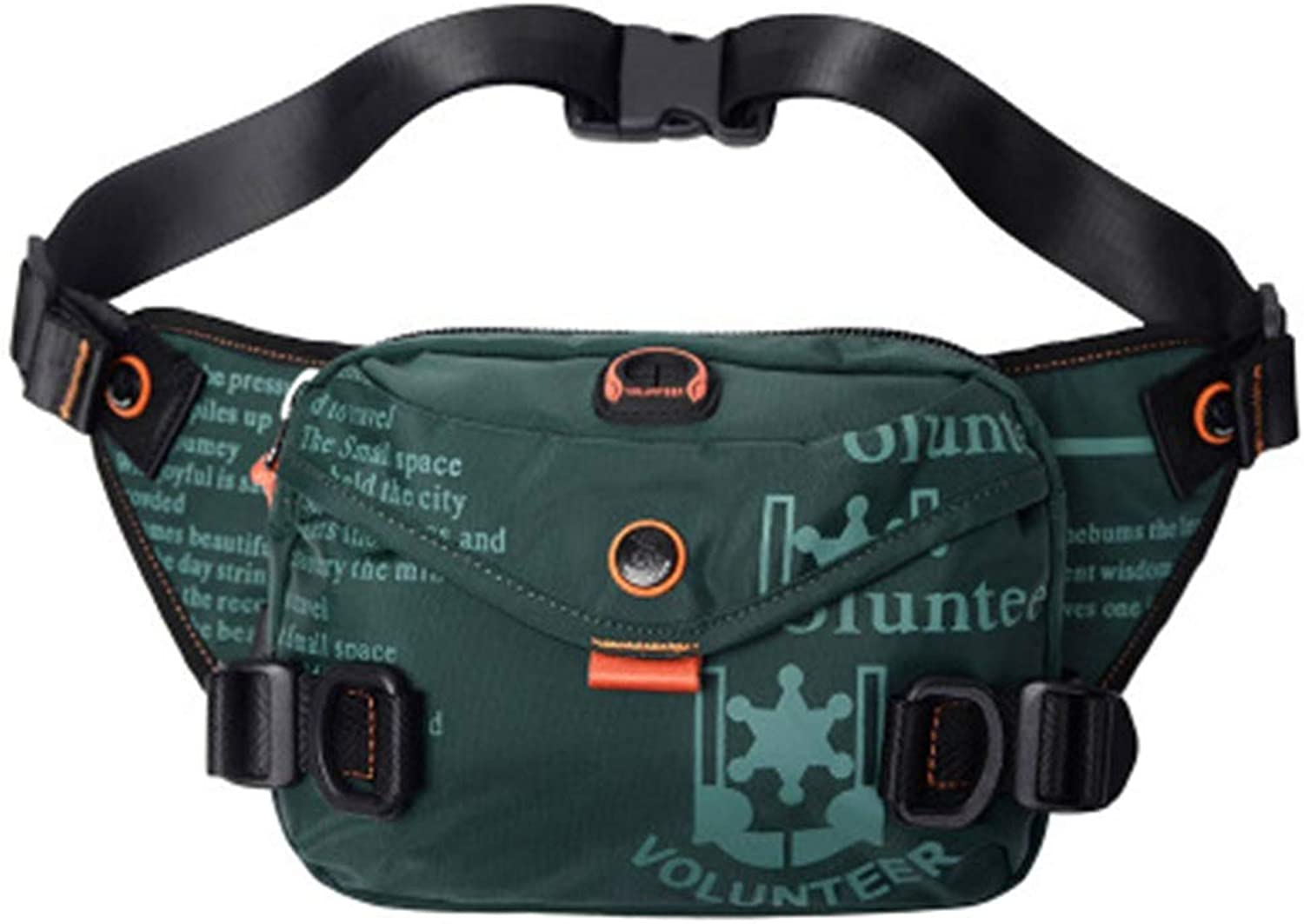 Waist Bag Men's Sports Running Bag Outdoor Shoulder Messenger Bag Oxford Cloth Men Small Bag Fashion (color   Dark Green)