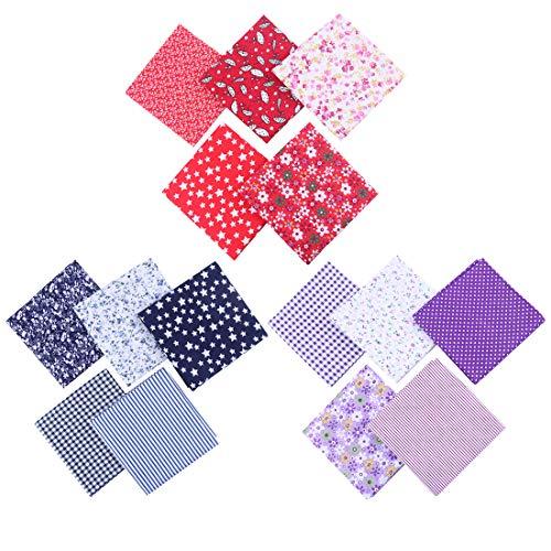 Adkwse DIY handgemachtes Patchwork,15PC Stück Patchwork Stoffe 100% Baumwolle,Bedruckter Baumwollstoff,für Kleidung, Bettwäsche, Vorhänge, Tischdecken usw. handgefertigt(50 x 50 cm)