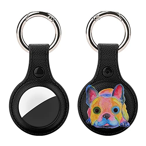 Watercolor French Bulldog Upgrade Leather Case for AirTag Key Finder Phone Finder Anti-Scratch Protective Skin Cover with Keychain Compatible with AirTags 2021