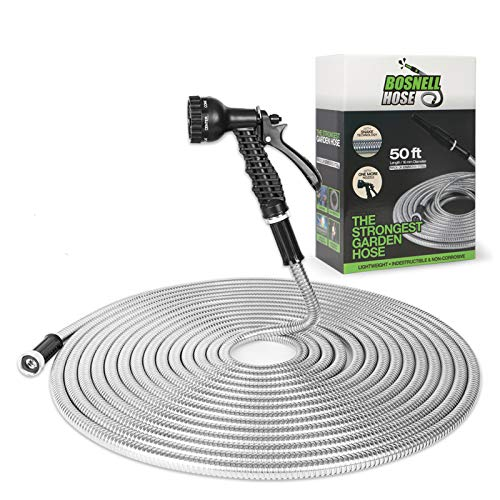 Metal Garden Hose Stainless Steel, BOSNELL Yard Hose,Tangle Free&Kink Free Lightweight with 2 Free Nozzles,Flexible and Cool to Touch, Outdoor Hose
