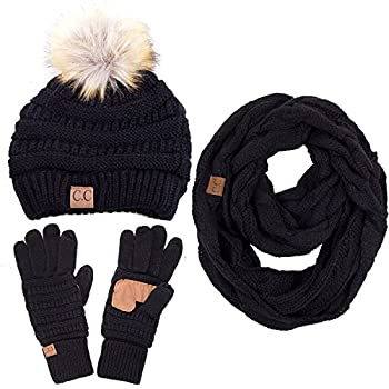 ScarvesMe 3pc Set Trendy Warm Chunky Soft Stretch Cable Knit Pom Pom Beanie Scarves and Gloves Set Black