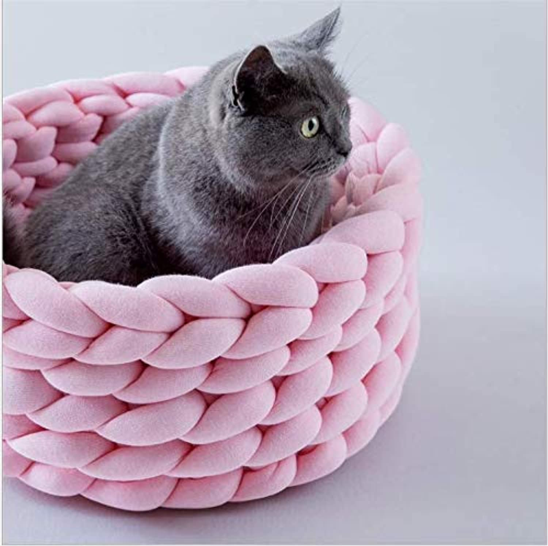 MARIS Handwoven washable pet nest pure color cat dog cotton soft pet bed,Pink,M