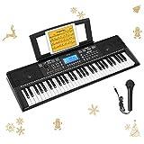 Donner Teclado Piano Electrico 61 Teclas, Organo Electronico Piano Digital Professional para Principiantes con Atril de Partituras/Micrófono, DEK-610