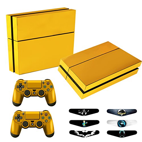Skins for PS4 Controller - Decals for Playstation 4 Games - Stickers Cover for PS4 Console Sony Playstation Four Accessories PS4 Faceplate with Dualshock 4 Two Controllers Skin - Golden