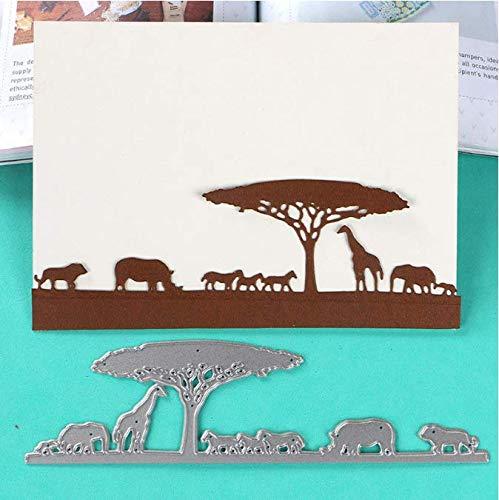 DHLZ Afrikanisches Schattenbild-Wiesen-Tier-Elefant-Nashorn-Kamel-Schablonen-DIY Einklebebuch-Papieralbum