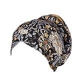 CEFGR Bonnet Musulman Femme Chapeau Plissé Turban Femme Fleurs Bandeau Chapeau Indien Musulman Islamique Bonnet Cheveux Envelopper Couvrir Coiffure Hapeau De Sommeil Bonnet Floral en Coton Bonnets