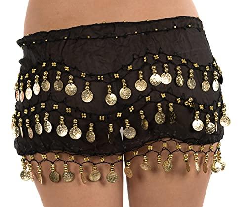 Secretdressing–Pañuelo oriental para danza del vientre, negro o rojo con lentejuelas doradas, estilo Bollywood Negro Talla única