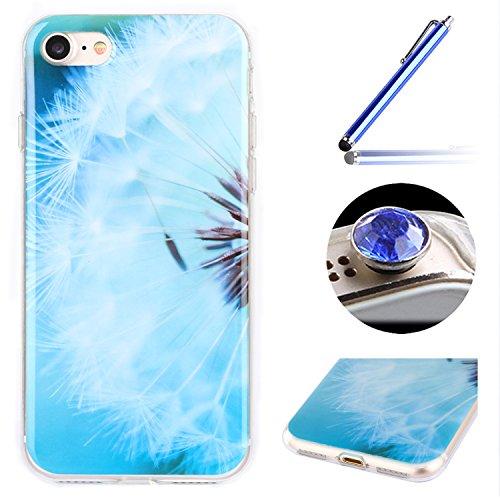 Etsue Doux Protecteur Coque pour iPhone 7,TPU Matériau Frame est Transparent Soft Cover pour iPhone 7,Coloré Motif par Dessin de Mode Case Coque pour iPhone 7 + 1 x Bleu stylet + 1 x Bling poussière plug (couleurs aléatoires)- Pissenlit