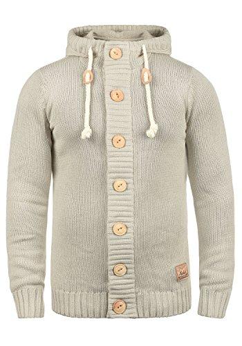 !Solid Peer Herren Strickjacke Cardigan Grobstrick Winter Pullover mit Kapuze, Größe:XL, Farbe:Oyster Grey (8215)