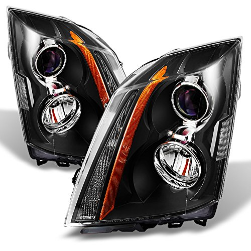 For Cadillac CTS CTS-V OE Replacement Halogen Projector Headlights LH/RH Driver Passenger Lamps Black