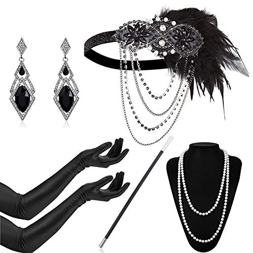 Timelike 1920s - Diadema redonda con perlas inspirada en el gran accesorio Gatsby para mujer