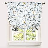 Leeva Gray Tie-Up Shades Curtains for Living Room, Elegant Window Treatment Balloon Valances Curtain Valances for Dining Room Office, 42x63 in, One Panel