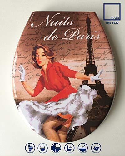 ADOB Design WC Sitz Nuits de Paris Klobrille Klodeckel Toilettendeckel aus Duroplast, Absenkautomatik, Softclose, zur Reinigung abnehmbar, 59834