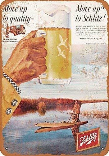 Blechschild Phirtyrius 1958 Schlitz Bier und Ente Jagd, Vintage-Look, 25,4 x 35,6 cm