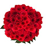 GlobalRose 100 Red Roses- Fresh Cut Flowers- Guaranteed Express Delivery