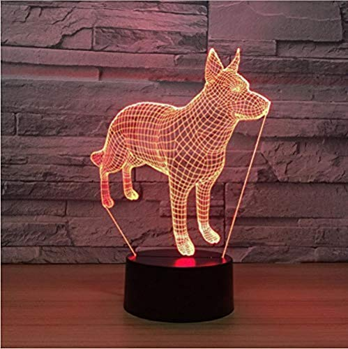 Luz De Noche Doberman Pinscher 3D Luces De Noche 7 Colores Que Cambian Led Animal Perro Lámpara De Mesa Infancia Hogar Decoración De Noche Regalos