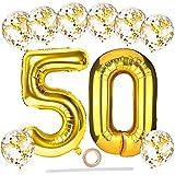 Globos de 50 cumpleaños,grandes globos de helio número 50 de 100 cm con globos de confeti de látex dorado de 30 cm/cinta/paja,juego de globos de papel para hombres y mujeres 50 cumpleaños decoraciones