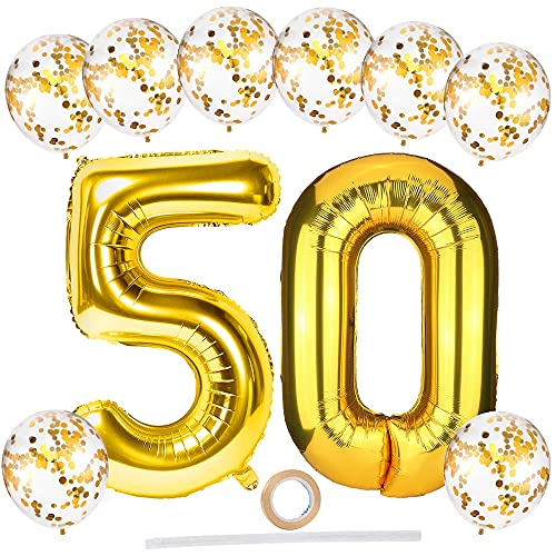 Palloncini Numero 50, Oro Numeri Palloncini Foil 50 Compleanno con Palloncini con Coriandoli Oro, Gigante 100 cm Palloncino Digitali 5 & 0 per 50° Feste di Anniversario Decorazioni di Compleanno