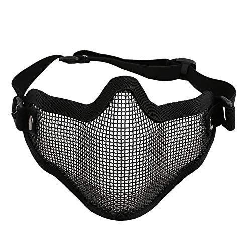 IBISHITAOXUNBAIHUOD Máscara Orejas mitad inferior de la cara Cobertura de acero del metal del acoplamiento neto Airsoft táctico de protección para el juego de guerra de paintball de caza
