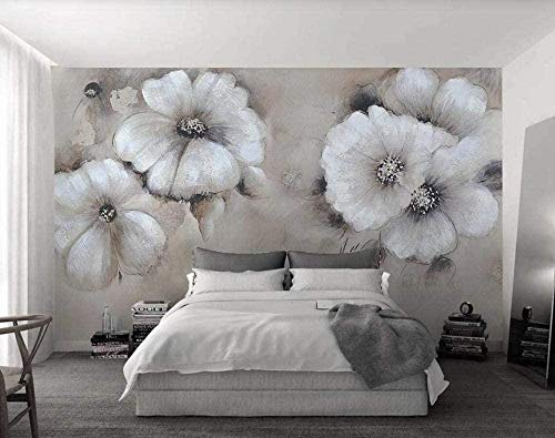 Mural Wallpaper Photo Poster Wall DecorationFlower Vintage Oil Painting simpleBackground Wall Background Painting Panorama 3D Wall Mural Decor 175 * 250cm