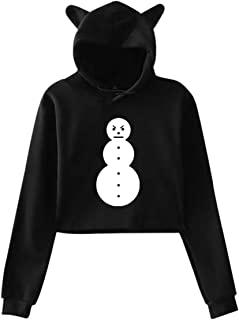 Women's Long Sleeve Jeezy Snowman Cotton Umbilical Cat Ear Sweater