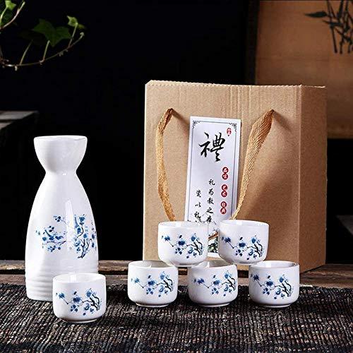 rzoizwko Juego de Sake de cerámica de 7 Piezas 6 Tazas de Sake, Juego de Vino de diseño Pintado a Mano, Bebida de Saki Caliente de cerámica Japonesa de Porcelana Tradicional, C