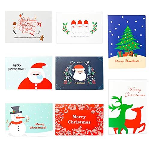 8 Stück Weihnachtskarte Set mit Umschlag, Hukz Handgemachte Grußkarten Weihnachten Karten, Greeting Cards Hochzeitskarten Geburtstagskarten Einladungskarten Geschenk Karten