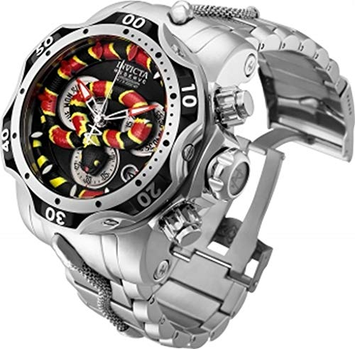 Invicta Reserve Men's 52mm King Venom Swiss Chronograph Silver Tone Stainless Steel Bracelet Watch