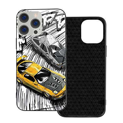 Initial D Style Artwork, RX7 vs AE86 Glass Phone Case Cover for iPhone 12 Pro MAX 12 Mini 11 Pro MAX XR X/XS SE 2020/7/8 6/6s Plus Samsung Series