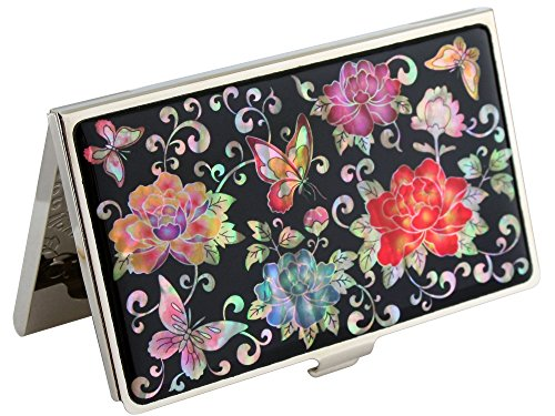 Mother of Pearl Red Peony Flower Design Metal Business Credit Name Id Card Holder Case Stainless Steel Engraved Slim Purse Pocket Cash Money Wallet