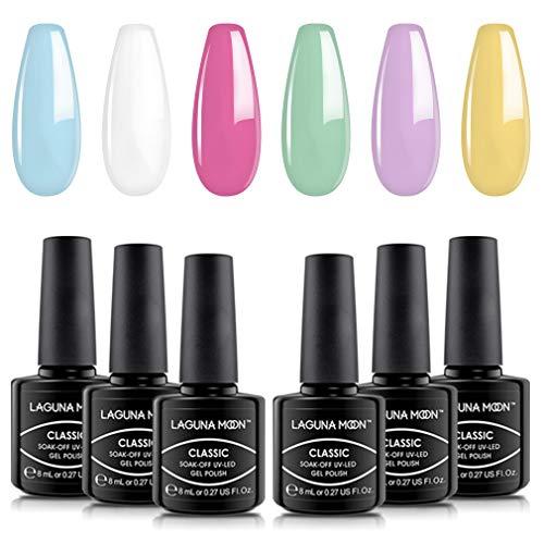 Lagunamoon 6 kleuren gel-nagellak UV LED Soak Off lak manicure art cadeauset collectie 8 ml