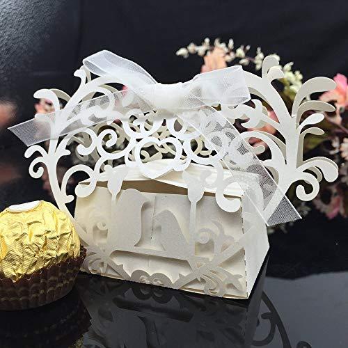XiaoMall Lot de 20 mini boîtes à biscuits romantiques pour fête de mariage avec ruban blanc