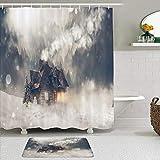 KISSENSU Cortinas con Ganchos,Casa de Madera rústica Bosque de Niebla en la montaña de Nieve en Navidad Invierno,Cortina de Ducha Alfombra de baño Bañera Accesorios Baño Moderno