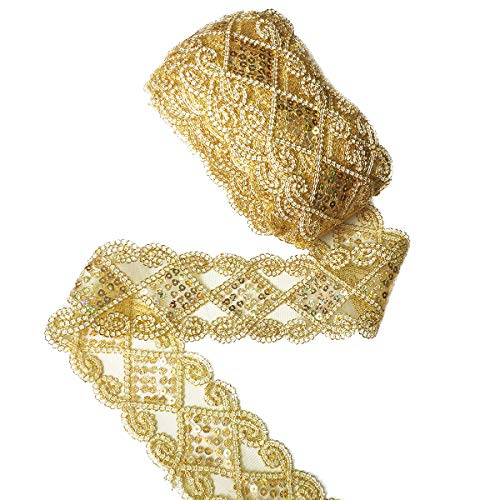 Gnognauq Gold Lace Trim Sequinned Ribbon Vintage Decorative Wedding/Bridal DIY Craft Sewing (10 Yards)