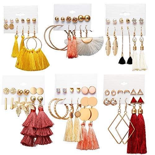 ZOYLINK 36 Paar Frauen Ohrring Set Mode böhmischen Quaste baumeln Ohrring Charme Ohrring