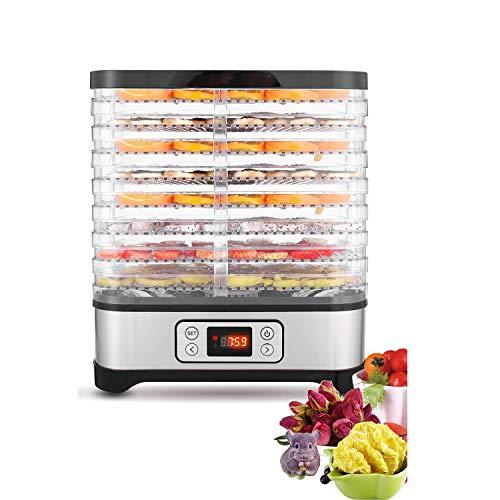 COOCHEER Deshidratador de Alimentos 400W,Desecadora de Fruta con 8 Bandejas Ajustables, Temperatura Regulable 35 °C-70 °C y Temporizador 0-72h,para Verduras Carne Flores,sin BPA