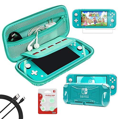 Switch Lite Zubehör-Set, Set mit Tragetasche, TPU-Schutzhülle mit 2 Displayschutzfolien, USB-Kabel, 4 Daumengriffkappen für Nintendo Switch Lite (türkis)