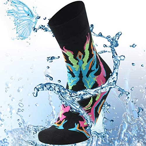 SuMade Waterproof Wading Socks, Women Men Dry Fit Thermal Socks Muddy Waters Rain Boots Hiking Skiing Rocky Mountain Bicycles Outdoor Recreation Gear Winter Trail Running Socks (Black&fire, Medium)
